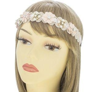 New Women's Pink Matte Laced Flower Headband